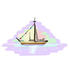 Boat voyage miniature painting vector
