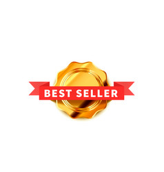 bright badge with red tape glossy best seller vector image