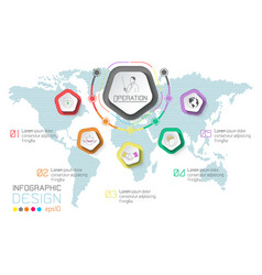 business labels infographic on world map vector image