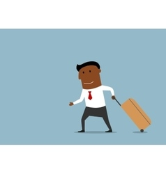 Businessman with suitcase going on voyage vector image