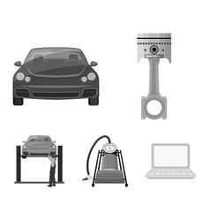 Car on lift piston and pump monochrome icons in vector