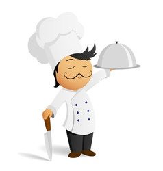 cartoon chef in white hat with knife and dish vector image
