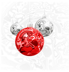 christmas balls in the style of marble ink vector image