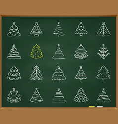 Christmas tree chalk draw line icons set vector