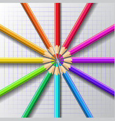 circle of colored pencils vector image