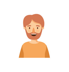 Colorful caricature half body man bearded vector