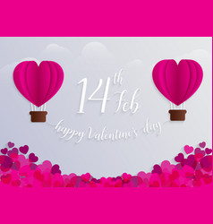 concept of valentine day hot air balloon in a vector image