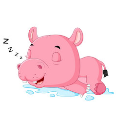 cute hippo sleepy vector image