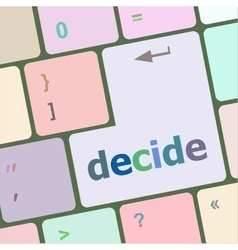 Decide button on computer pc keyboard key vector