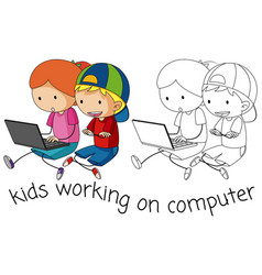 Doodle children working on computer vector