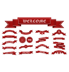 Embroidered red ribbons and stumps with business vector
