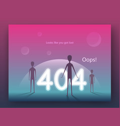 error 404 page concept arrival aliens on earth vector image
