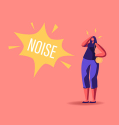 Female character suffering noise pollution big vector