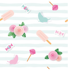 Festive seamless pattent with flowers and sweets vector