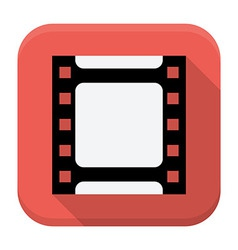 Filmstrip flat app icon with long shadow vector image