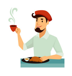 frenchman in beret has traditional tasty french vector image