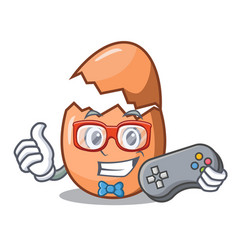 gamer shell of broken egg on the mascot vector image