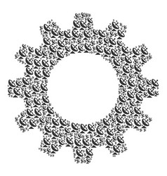 gear mosaic of antenna icons vector image