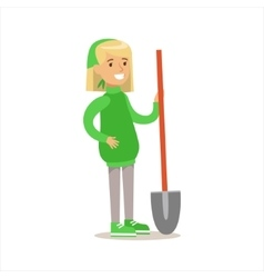 Girl In Green Sweater With A Shovel Helping In Eco vector