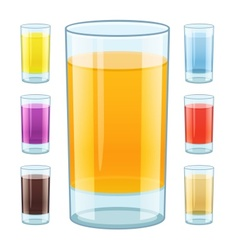 Glass with fresh fruity juice vector