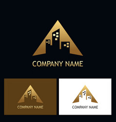 gold building triangle company logo vector image