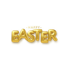 golden metallic shiny typography happy easter 3d vector image