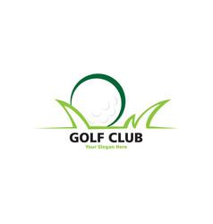 golf logo with green graass vector image