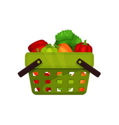 green shopping basket full of natural vegetables vector image