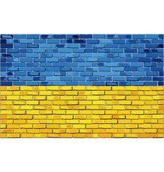 Grunge flag of ukraine on a brick wall vector