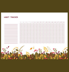 Habit tracker for month flat template autumn vector