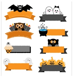 Halloween ribbon collection vector image