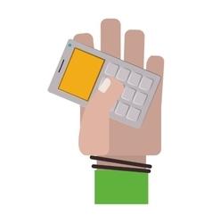 Hand holding gray office calculator vector