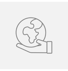 Hand holding the Earth line icon vector