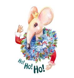 ho ho ho santa mouse creative watercolor character vector image