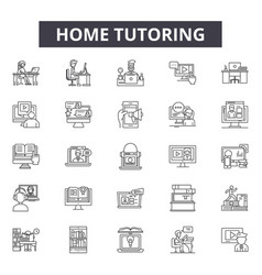 Home tutoring line icons signs set vector