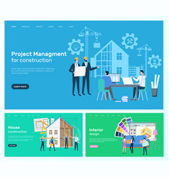 House construction and interior design website vector