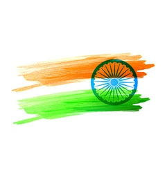 indian flag made with color strokes vector image