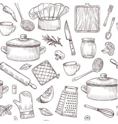 kitchen tools seamless pattern sketch cooking vector image