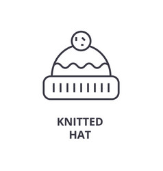 knitted hat line icon outline sign linear symbol vector image