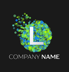 Letter l green yellow particles and bubble dots vector