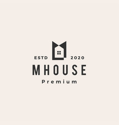 m letter house hipster vintage logo icon vector image
