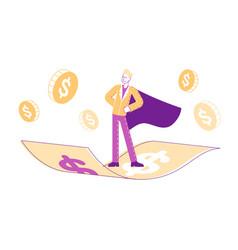 male superhero character in cloak super employee vector image