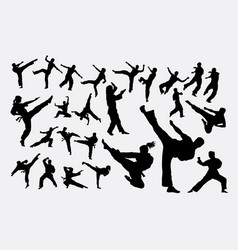 Martial art male and female silhouettes vector