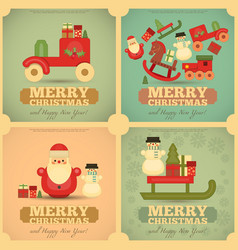 Merry Christmas and Happy New Year Cards vector image