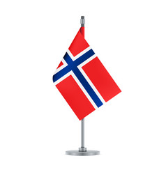 norwegian flag hanging on the metallic pole vector image