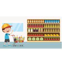 Of kid grocery vector