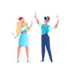 office man and woman in santa hat sparkler vector image