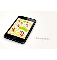 Phone with navigation map vector image