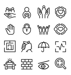 protection icon set in thin line style vector image