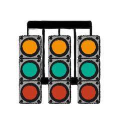 racer traffic light draw vector image